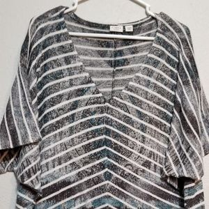 Cato dark gray n white stripes short sleeved top